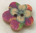 Flower Shaped Printed Wooden Buttons